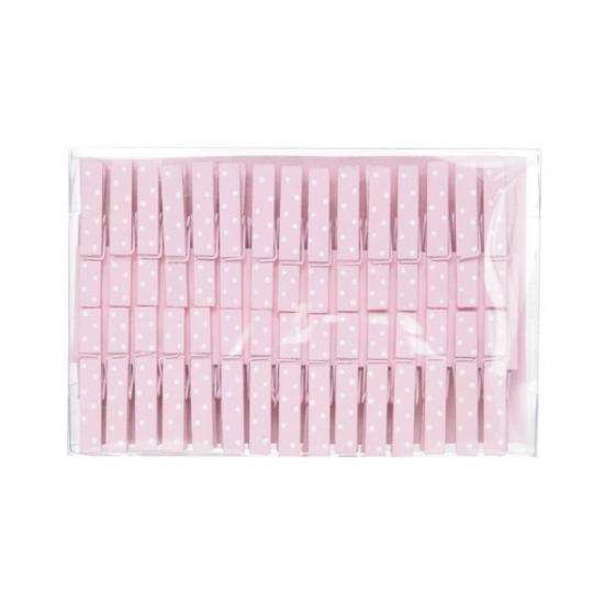 Roze houten waskijpers 30 stuks