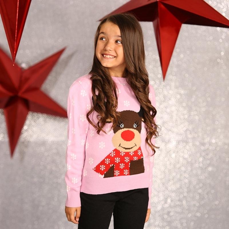 Roze kersttrui voor meisjes
