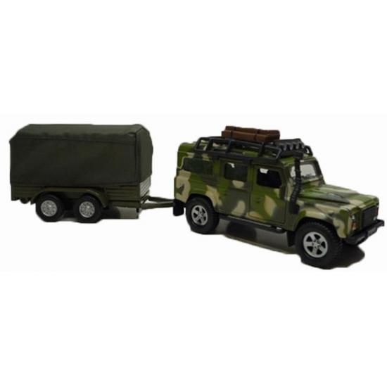 Siku militaire landrover met aanhangwagen