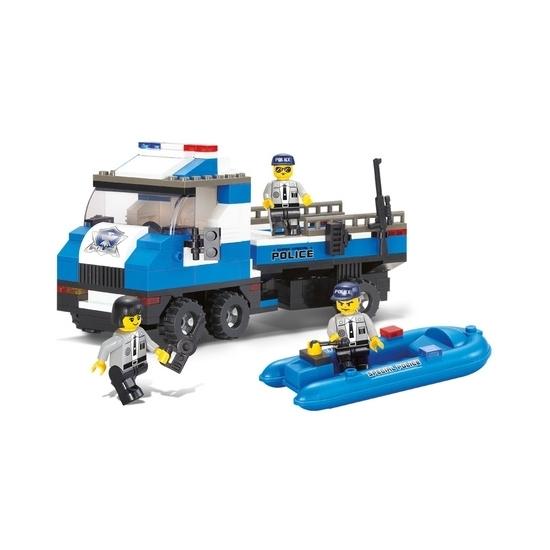 Sluban politiewagen met boot bouwset