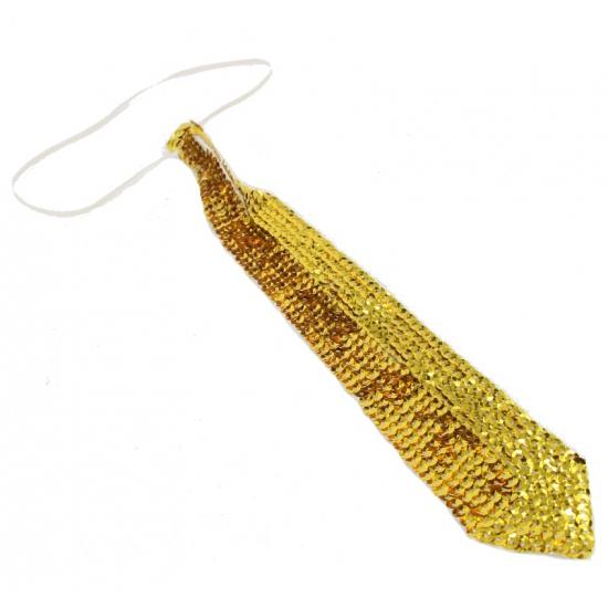 Smalle stropdas pailletten goud