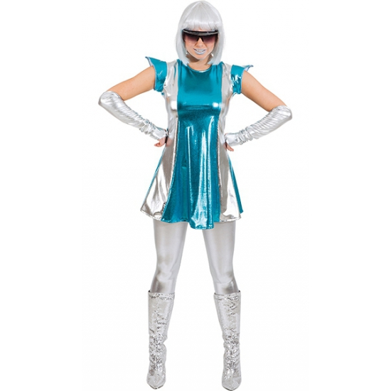 Space kostuum blauw zilver voor dames
