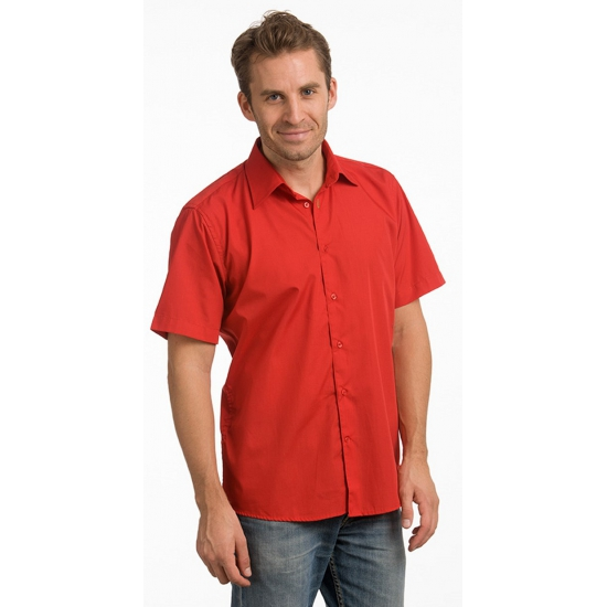 Toppers Heren overhemd rood met korte mouw