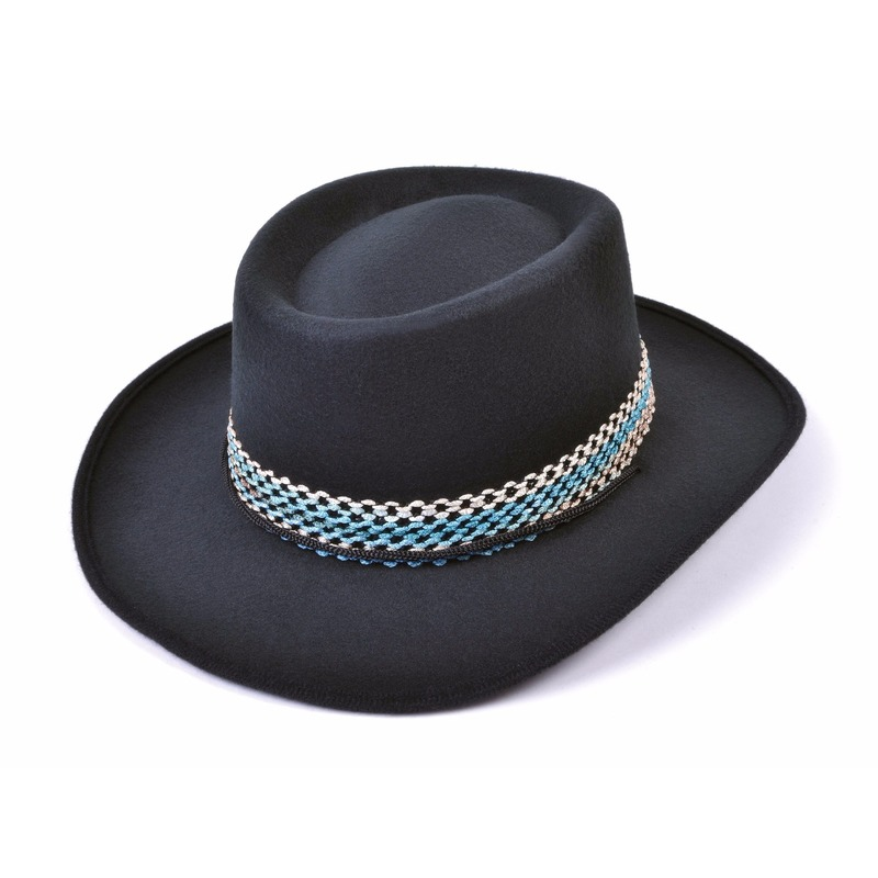 Toppers Zwarte vilten cowboy hoed