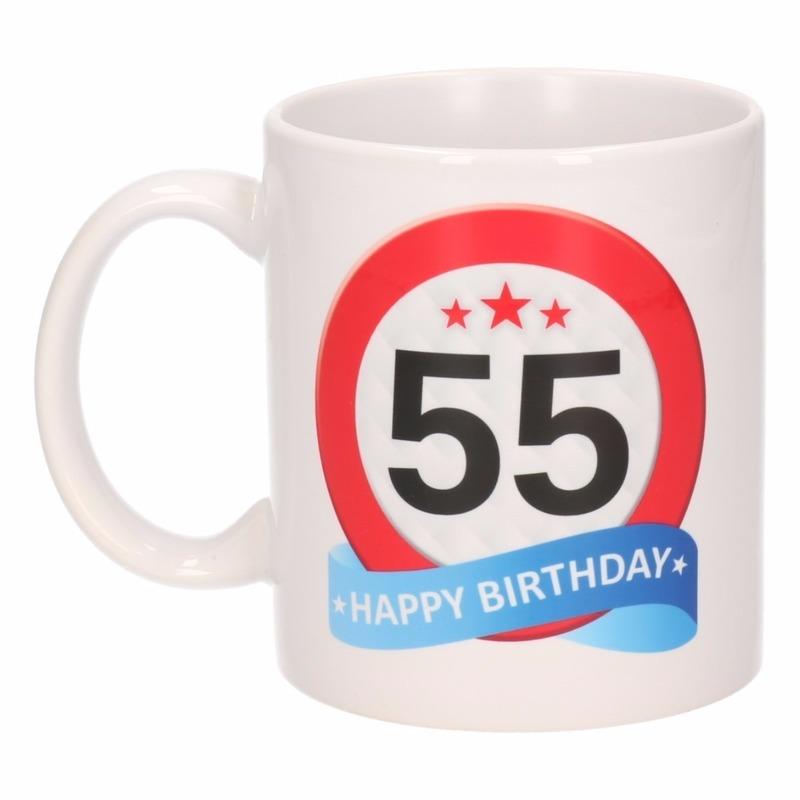 Verjaardag 55 jaar verkeersbord mok beker