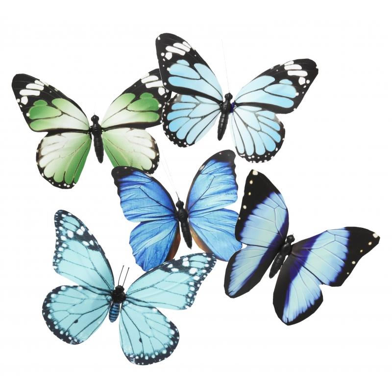 Vlinder magneet blauw groen 13.5 cm