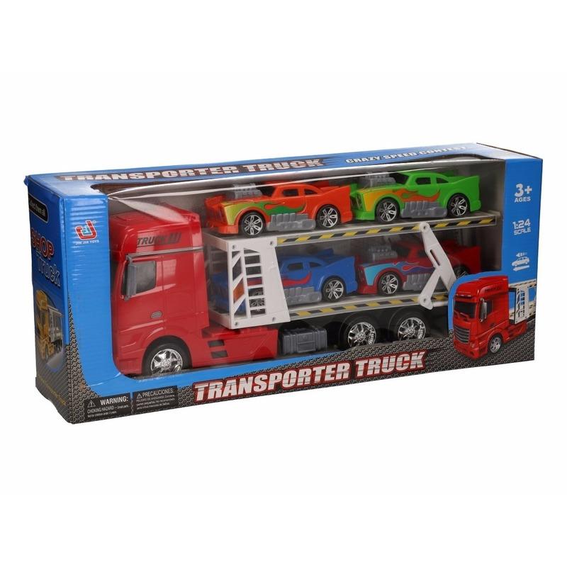 Vrachtauto rood 44 cm met 4 autos