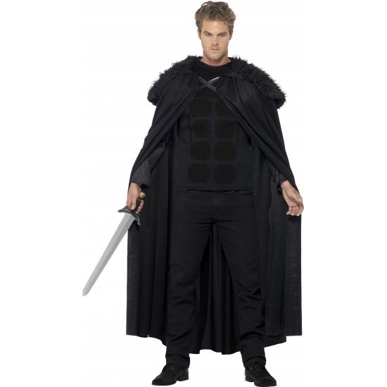 Zwarte barbaar cape voor volwassenen
