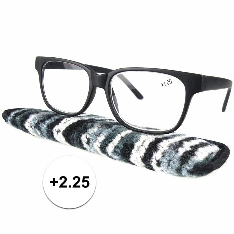 Zwarte leesbril 2.25 met stoffen hoesje