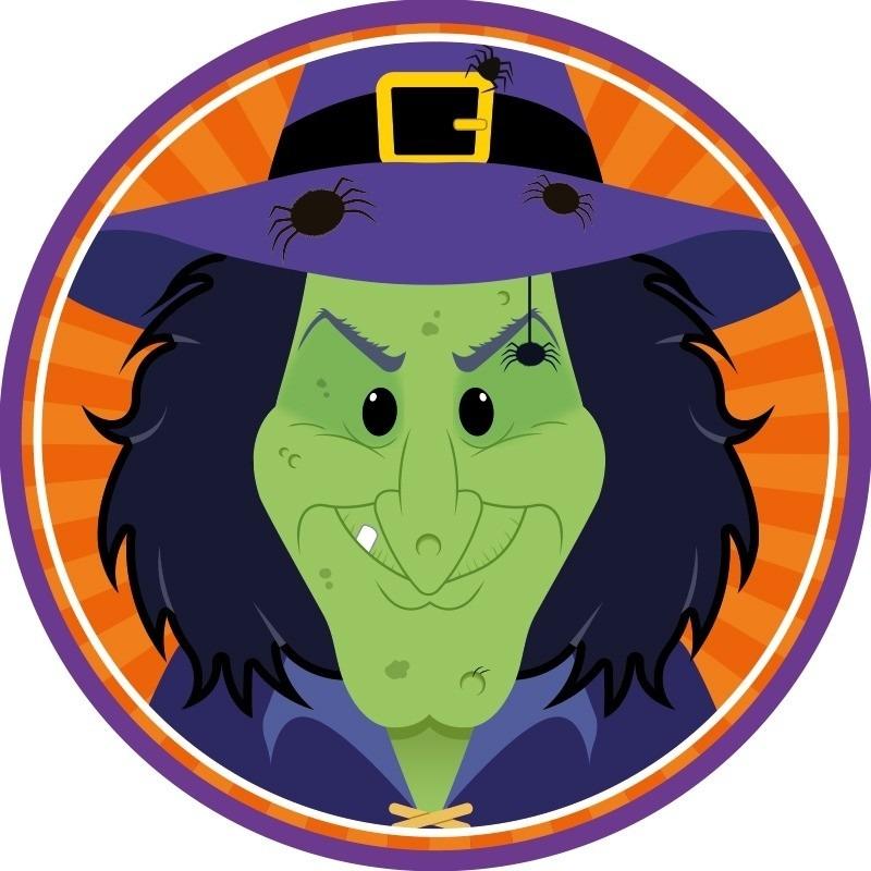 10x Halloween onderzetters heks