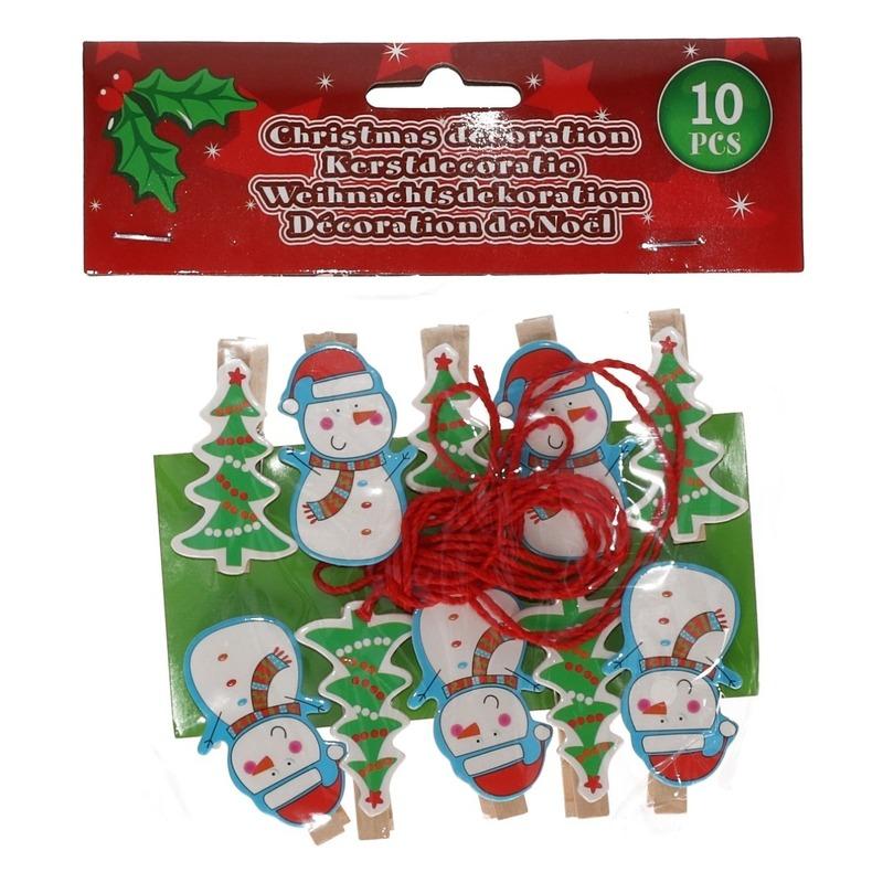10x Houten Kerst knijpers sneeuwpop kerstboom met koord