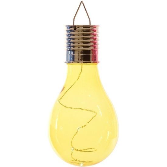 1x Buiten LED geel lampbolletje solar verlichting 14 cm