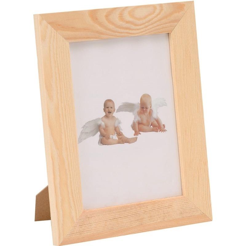 1x DIY houten fotolijstje 17,5 x 22,5 cm hobby-knutselmateriaal