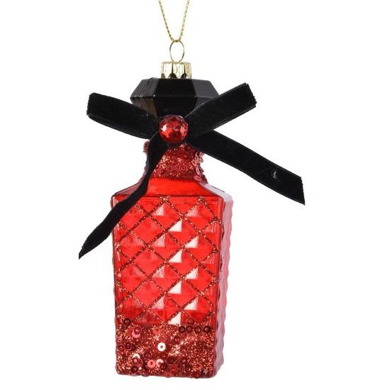 1x Kersthangers figuurtjes parfum flesje-geurtje rood 12 cm