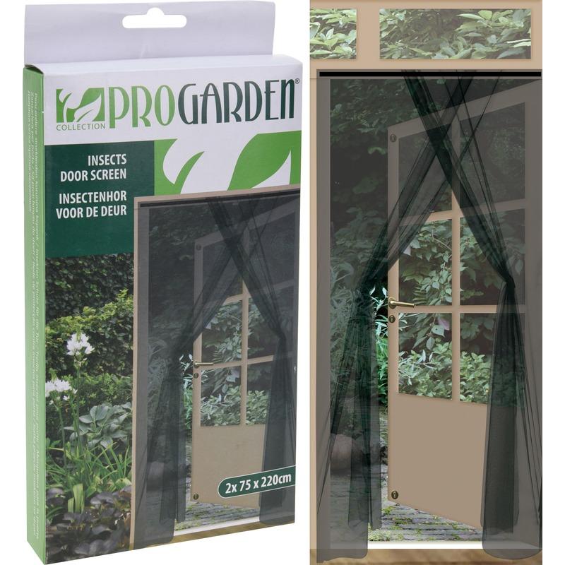 2x Insecten deur horren-horgordijnen antraciet 75 x 220 cm