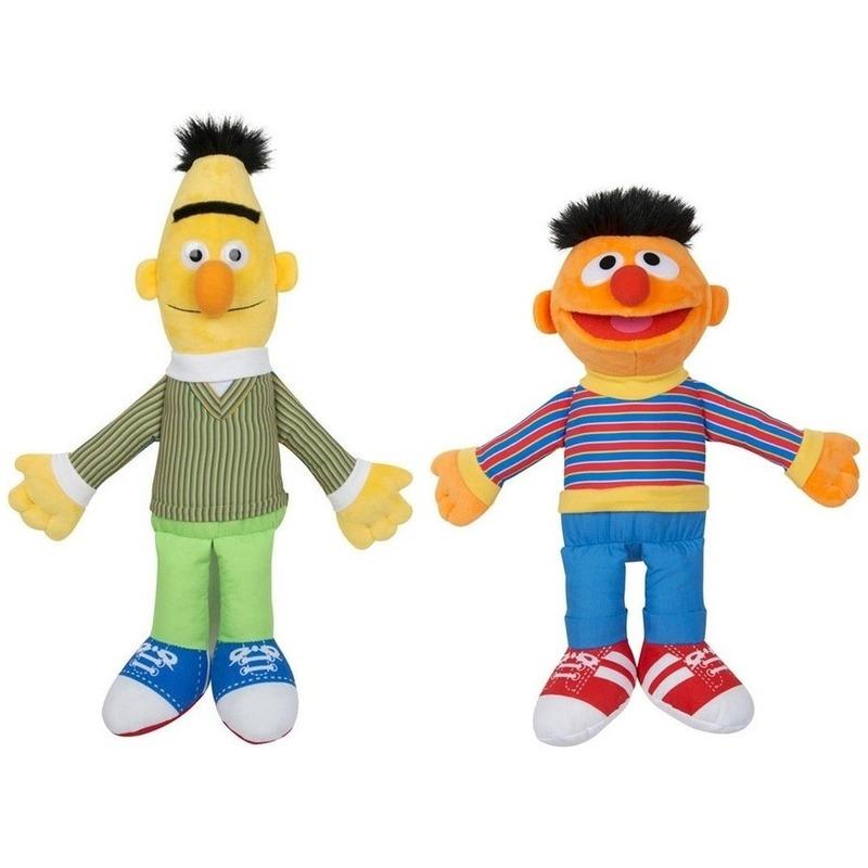 2x Sesamstraat Bert en Ernie knuffels-poppen 28 cm