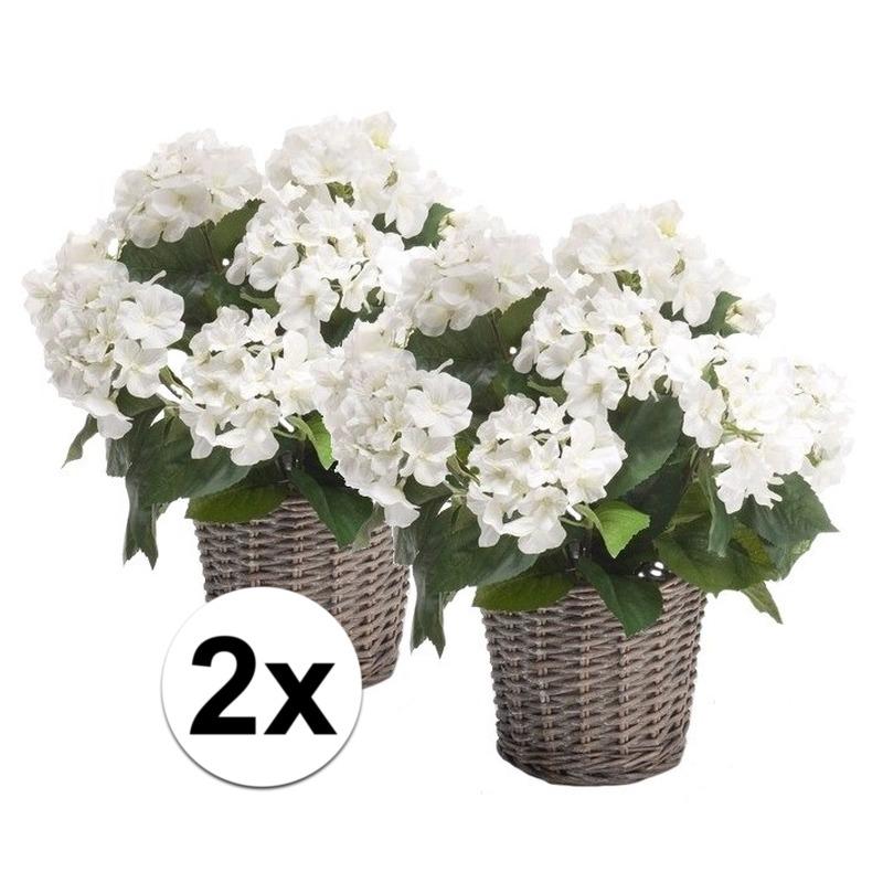 2x Witte Hortensia kunstplant in mand 45 cm
