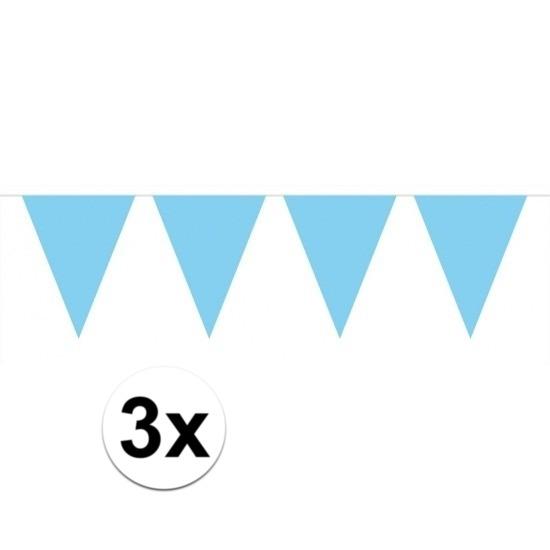 3 stuks Vlaggenlijnen slingers XXL lichtblauw 10 meter