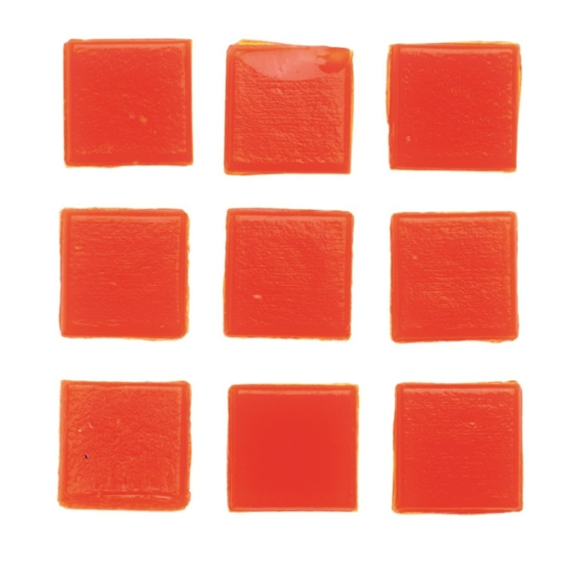 30 stuks vierkante mozaieksteentjes oranje 2 cm
