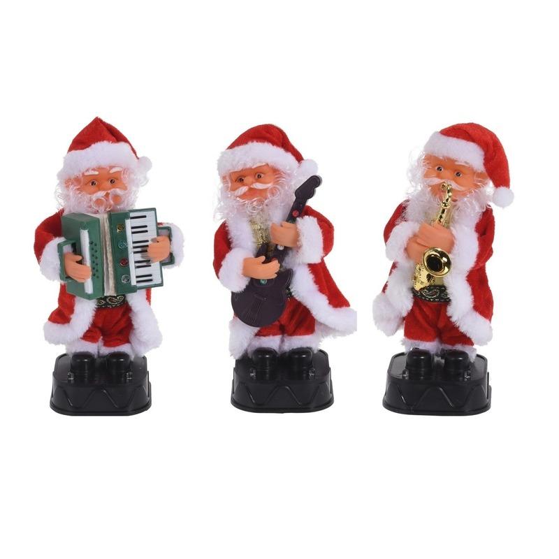3x Bewegende kerstfiguren dansende-muzikale kerstmannen 20 cm