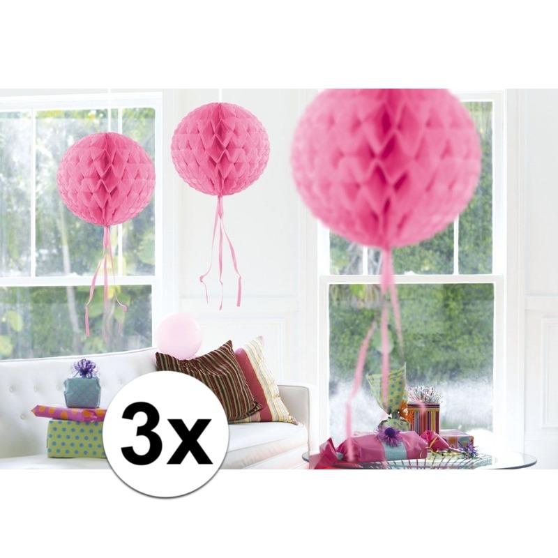 3x feestversiering decoratie bollen licht roze 30 cm
