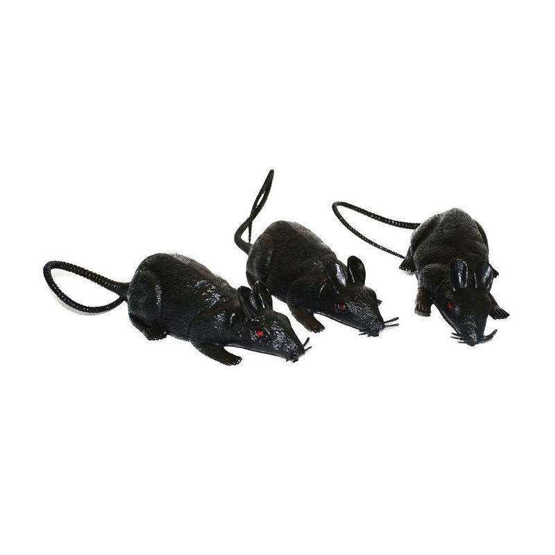 3x grote plastic ratten 12 cm