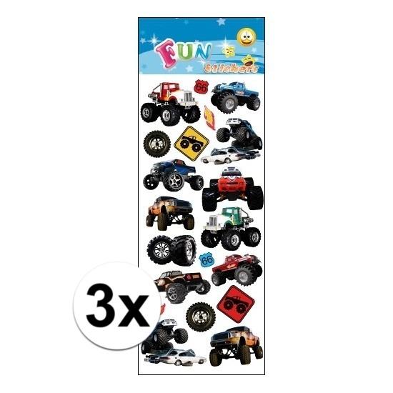 3x Stickervellen monstertrucks