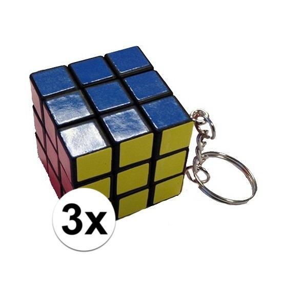 3x stuks sleutelhangers met kubus spelletjes