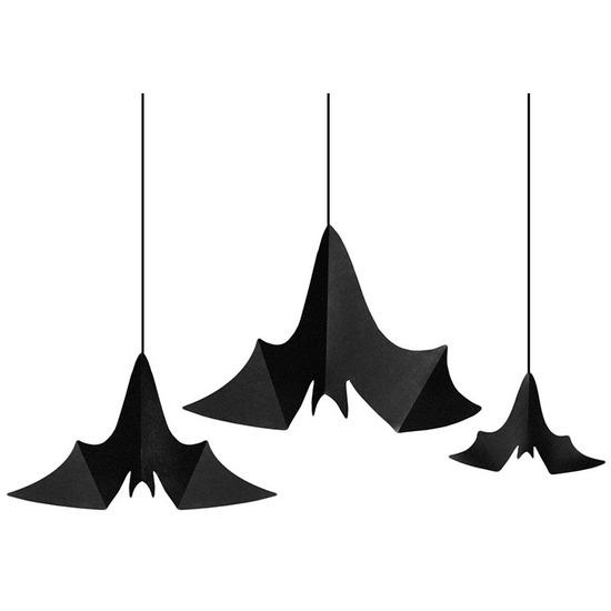 3x Zwarte vleermuizen hangdecoraties van papier