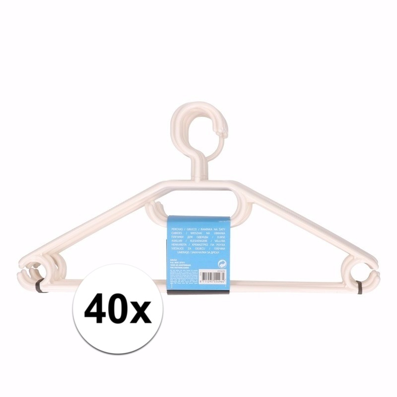 40x plastic kledinghangers wit