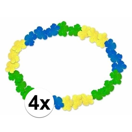4x Braziliaanse Hawaii kransen blauw geel groen