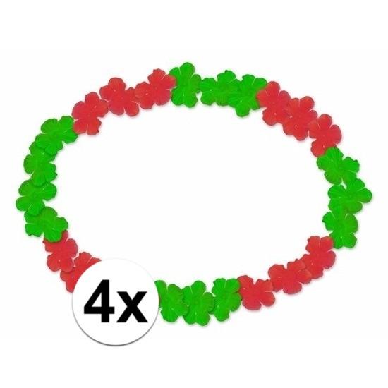 4x Hawaii kransen rood groen