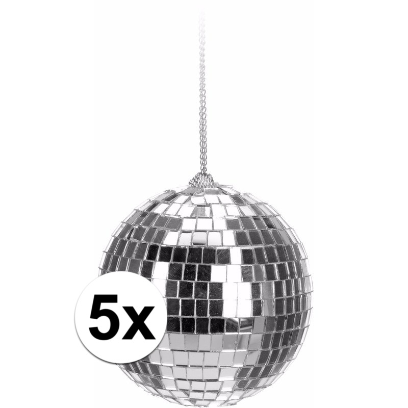 5x Kerstboom decoratie discoballen zilver 6 cm