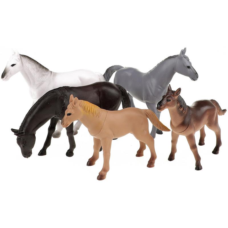 5x Plastic speelgoed paarden figuren 14 cm