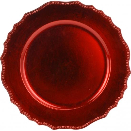 6x Diner onderborden kerst rood 33 cm rond