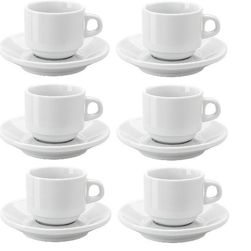 6x Espresso kopjes en schotels set
