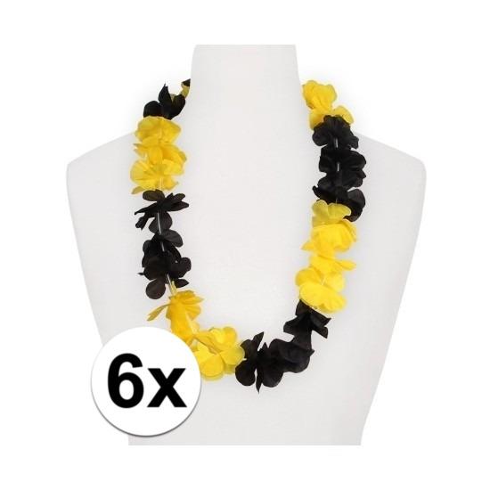 6x Hawaii slinger geel zwart