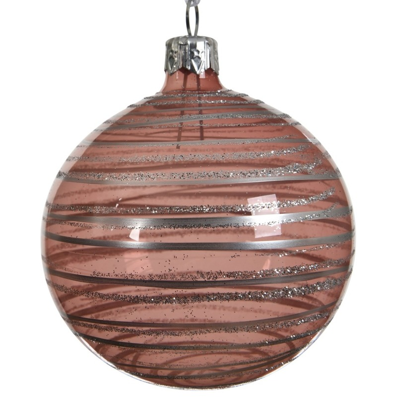 6x Oud roze kerstversiering transparante kerstballen glas 8 cm