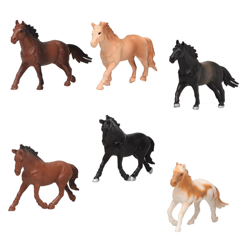 6x Plastic paarden speelgoed figuren 13,5 cm voor kinderen