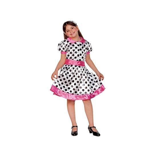 19353b33f80039 70s jurkje voor meiden. schattig wit roze jurkje met zwarte stippen  inclusief riem en