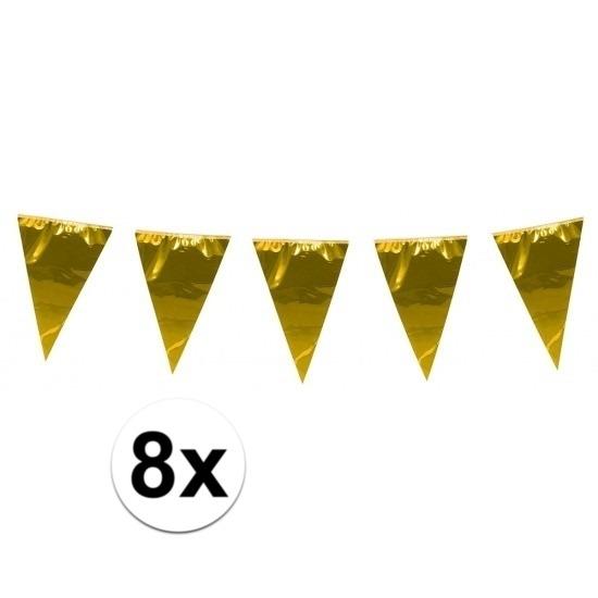 8x stuks XL vlaggenlijnen metallic goud 10 meter