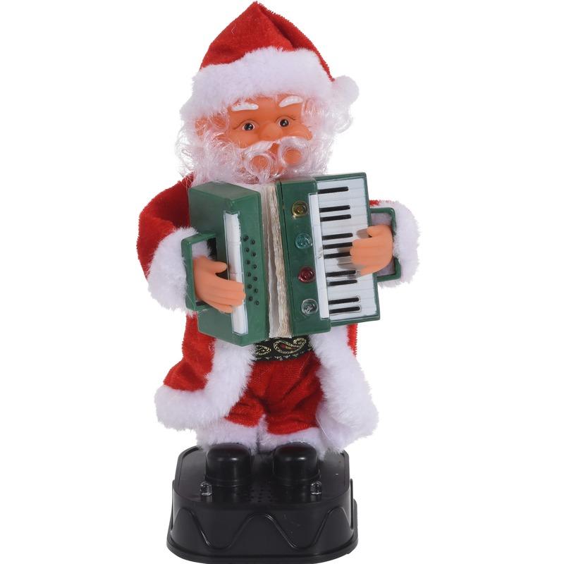 Bewegende kerstfiguren dansende kerstman met accordeon 20 cm