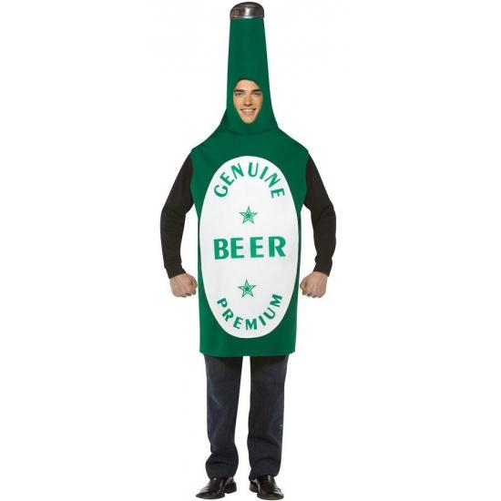 Bierfles kostuum groen. groen bierfles kostuum voor volwassenen. het kostuum is one size.