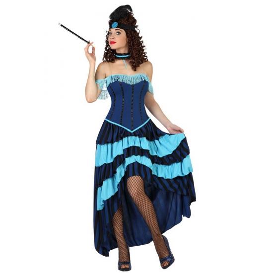 Blauw cabaret danseres kostuum. blauwe danseressen jurk voor dames met bijpassende band voor om de hals....