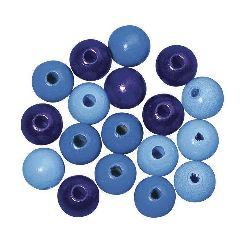 Blauw gekleurde houten kralen 6 mm