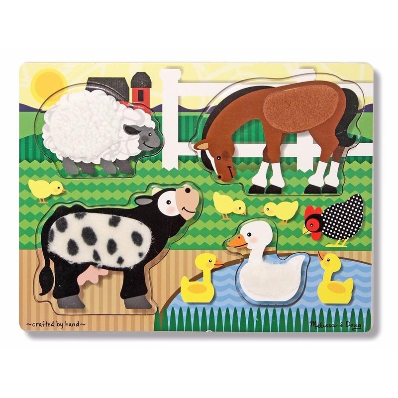 Boerderijdieren voel puzzel van hout