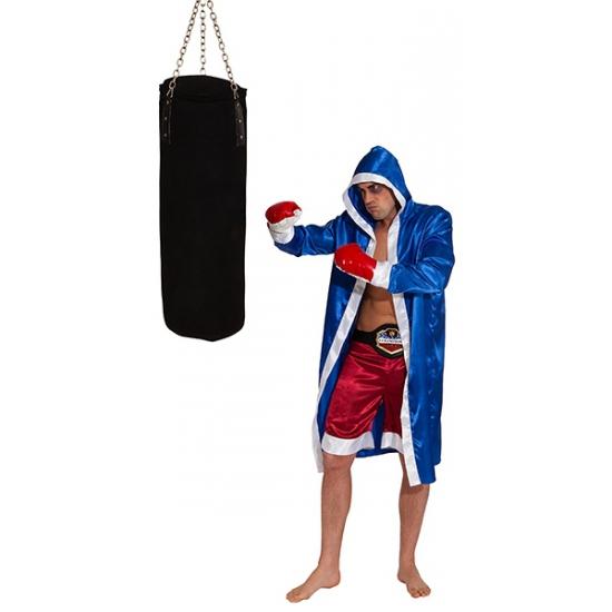 Bokser kostuum voor volwassenen. deze outfit bestaat uit een blauwe satijnen cape, rode broek en 1 paar ...