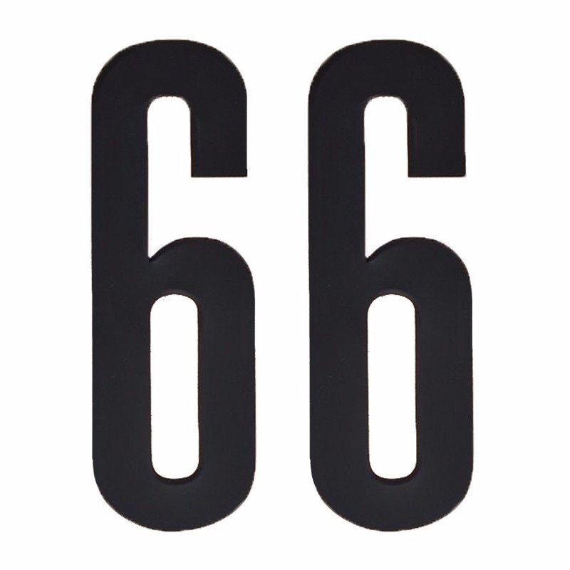 Cijfer sticker 66 zwart 10 cm