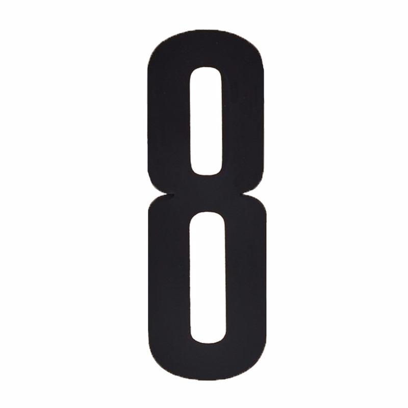Cijfer sticker 8 zwart 10 cm