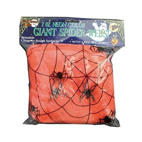 Decoratie spinnenweb oranje 50 gram